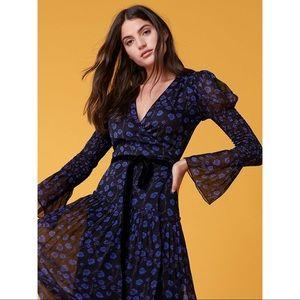 DVF Ani Floral Print Pleated 100% Silk Midi Dress